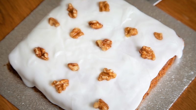 A baked carrot cake from the cake mix.