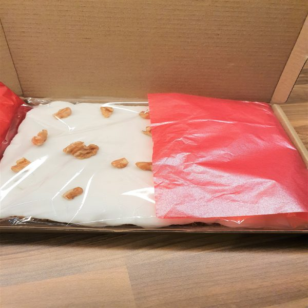Carrot Cake wrapped in a postal box.