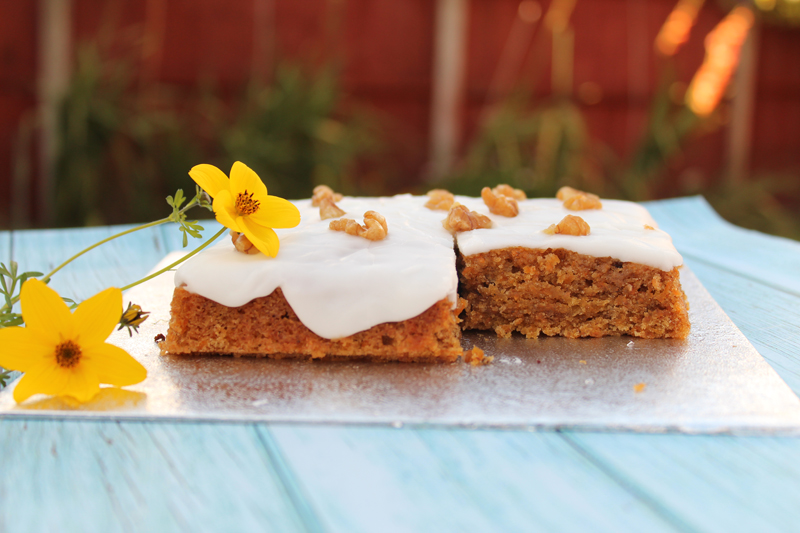 Cut carrot cake to reveal the light and moist inside