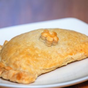 Vegan Chigan, leek and potato pasty